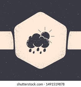 Grunge Cloud with rain and sun icon isolated on grey background. Rain cloud precipitation with rain drops. Monochrome vintage drawing. Vector Illustration