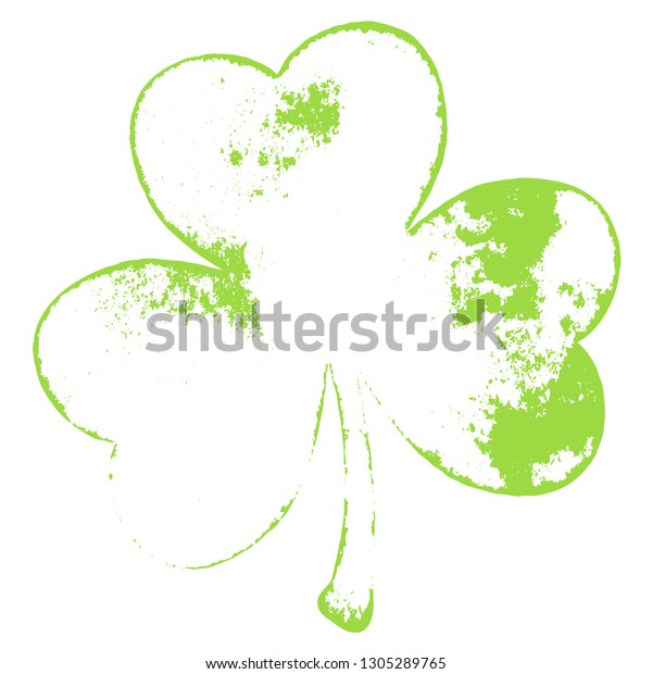 Grunge clover shamrock leaf isolated on a white background. Artistic distressed patrick day element for your design. EPS10 vector.