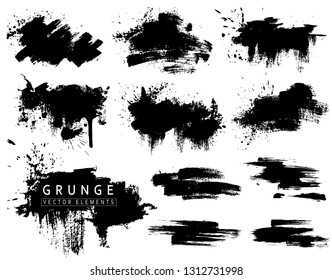 Grunge collection with black brush strokes and splashes. Vector ink blots, brushs