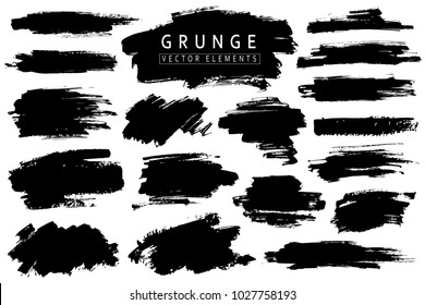 Grunge collection. Vector black brush strokes. Place for text