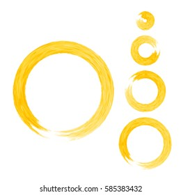 Grunge color circle with brush. Set of orange round brushes. Collection of vector graphics elements for your design