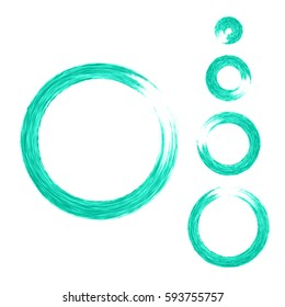 Grunge color circle with brush. Set of aquamarine round brushes. Collection of vector graphics elements for your design