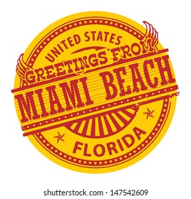 Grunge color stamp with text Greetings from Miami Beach, vector illustration