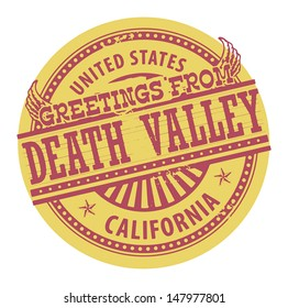 Grunge color stamp with text Greetings from Death Valley, vector illustration