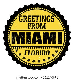 Grunge color stamp with text Greetings from Miami, vector illustration