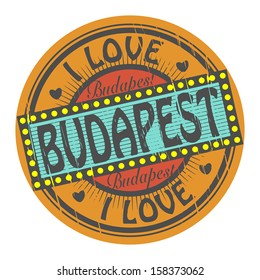 Grunge color stamp with text I Love Budapest inside, vector illustration