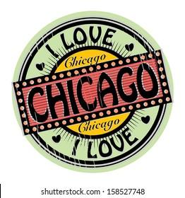 Grunge color stamp with text I Love Chicago inside, vector illustration