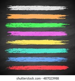 Grunge colorful chalk stripes on blackboard. Set of vector brushes. Design elements on black background