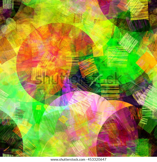 Grunge Colorful Texture Circles Strokes Abstract Stock Vector ...