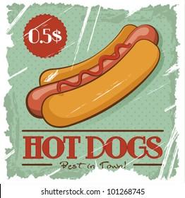 Grunge Cover for Fast Food Menu - hot dog on vintage background
