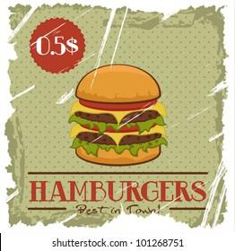 Grunge Cover for Fast Food Menu - hamburger on vintage background