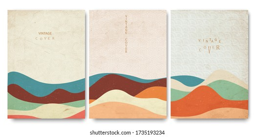 Grunge covers templates set with japanese waves patterns and geometric curve hand drawn shapes oriental style. Vector layout for brochures, posters,placards, covers and banners - Shutterstock ID 1735193234