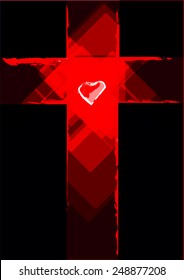 Grunge Cross with a Heart in the middle