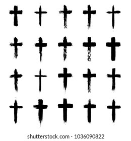 Grunge cross symbols set, christian crosses, religious signs and icons