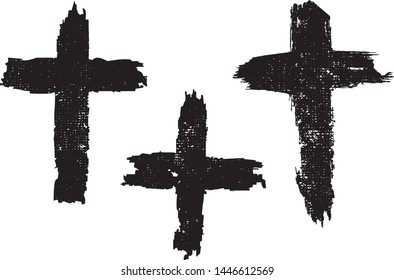 Grunge Crosses Collection. Symbol of Jesus Christ, christians and christianity. Vector Distressed Textures Set. Blank Shapes. Vector Illustration. Black isolated on white background. EPS10.