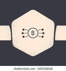Grunge Cryptocurrency bitcoin in circle with microchip circuit icon isolated on grey background. Blockchain technology, digital money market. Monochrome vintage drawing. Vector Illustration
