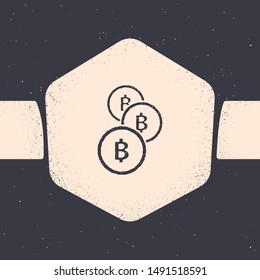 Grunge Cryptocurrency coin Bitcoin icon isolated on grey background. Physical bit coin. Blockchain based secure crypto currency. Monochrome vintage drawing. Vector Illustration