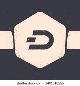 Grunge Cryptocurrency coin Dash icon isolated on grey background. Digital currency. Altcoin symbol. Blockchain based secure crypto currency. Monochrome vintage drawing. Vector Illustration