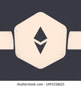 Grunge Cryptocurrency coin Ethereum ETH icon isolated on grey background. Altcoin symbol. Blockchain based secure crypto currency. Monochrome vintage drawing. Vector Illustration