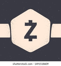 Grunge Cryptocurrency coin Zcash ZEC icon isolated on grey background. Altcoin symbol. Blockchain based secure crypto currency. Monochrome vintage drawing. Vector Illustration