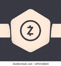 Grunge Cryptocurrency coin Zcash ZEC icon isolated on grey background. Digital currency. Altcoin symbol. Blockchain based secure crypto currency. Monochrome vintage drawing. Vector Illustration