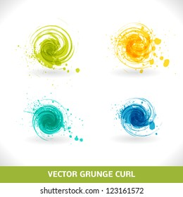 Grunge Curl. Vector Abstract Symbol.