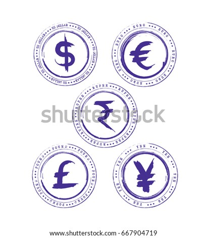Grunge Currency Symbol Dollar Pound Euro Stock Vector Royalty Free