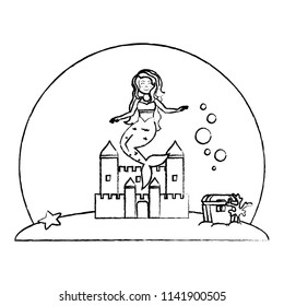 grunge cute mermaid under water with castle and coffer