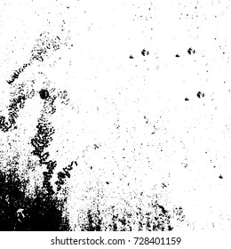 Grunge dark corner messy background. Distressed grainy overlay texture. Ink stroke brushed renovate wall backdrop. Abstract black and white cracks, stains, smears, scrapes for design and printing