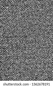 Grunge dark texture of rough fabric. Monochrome background of coarse cloth. Overlay template. Vector illustration