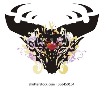 Grunge deer head with red heart. Stylization of the head of a deer with colorful twirled floral splashes