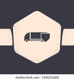 Grunge Delivery cargo truck with shield icon isolated on grey background. Insurance concept. Security, safety, protection, protect concept. Monochrome vintage drawing. Vector Illustration