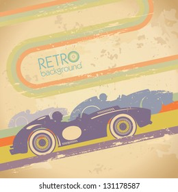 Grunge design with retro sports car and place for text.
