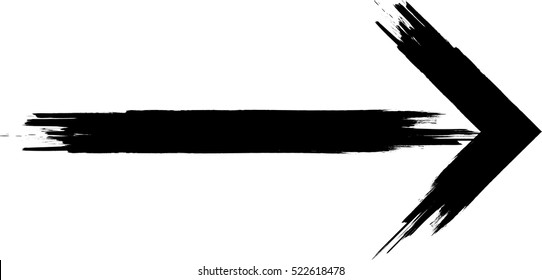 Grunge Dirt Arrow Vector. Dry Brush Stroke .sideways. black sign.  element for your design.distressed direction