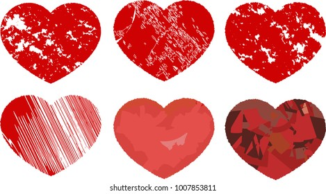 Grunge dirty heart set.eps This is a vector illustration.