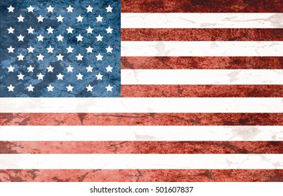 Grunge Dirty National Flag Of USA. Flag Of United States Of America