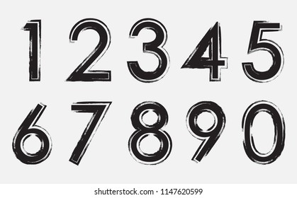 Grunge dirty numbers set. Vector distress numbers.