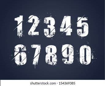 Grunge dirty painted numbers set. Vector illustration.