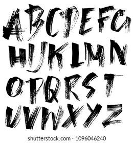 Grunge distress font. Modern dry brush ink letters. Handwritten alphabet. Vector illustration.