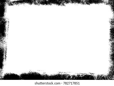 Grunge distressed background, vector template, dusty and grainy wallpaper. Hand painted with paint roller . Black border on white