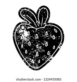 grunge distressed icon of a fresh strawberry