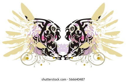 Grunge double imaginary animal symbol. Colorful splashes in a symbol of the eagle and horse head with gold eagle wings