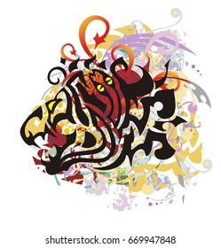 Grunge dragon head with a snake. Tribal dragon inspiring fear formed by a snake for  t-shirt design and another. Colorful dragon splashes with red hearts and red arrows