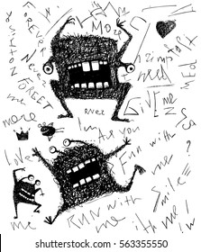 Grunge dreadful horrible monster fun character hand drawn monochrome design. Black and white freaky modern creature with lettering scribble drawing. Vector illustration.