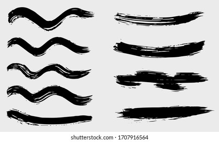 Grunge dry paint brush strokes, vector, isolated