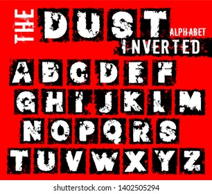 Grunge dust letters. Inverted off road lettering with dirty ground texture. Editable vector illustration. Beautiful typography useful for automotive extreme poster, print, leaflet design.