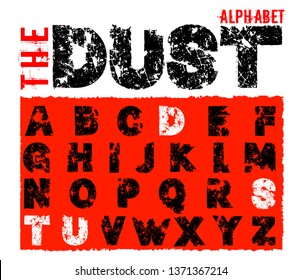 Grunge dust letters. Unique off road lettering with dirty ground texture. Editable vector illustration. Beautiful typography useful for automotive extreme poster, print, leaflet design.