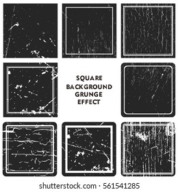 grunge effect square collections. Banners, Insignias , Logos, Icons, Labels and Badges Set vector distress textures.blank shapes