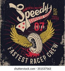 grunge effected racer print design with wings and wheen illustration