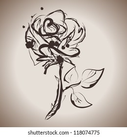 Grunge elegance ink splash illustration of rose flower
